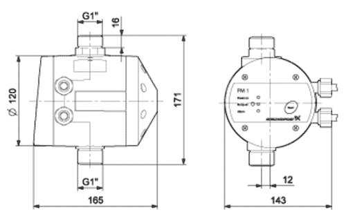 Схема и габариты блока автоматики Grundfos pm2