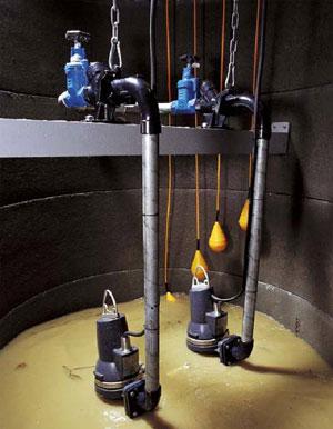 Откачка канализации насосами Grundfos SEG