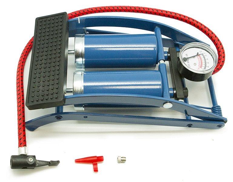 Двухцилиндровый ножной насос с насадками для велосипедных, автомобильных шин и изделий ПВХ