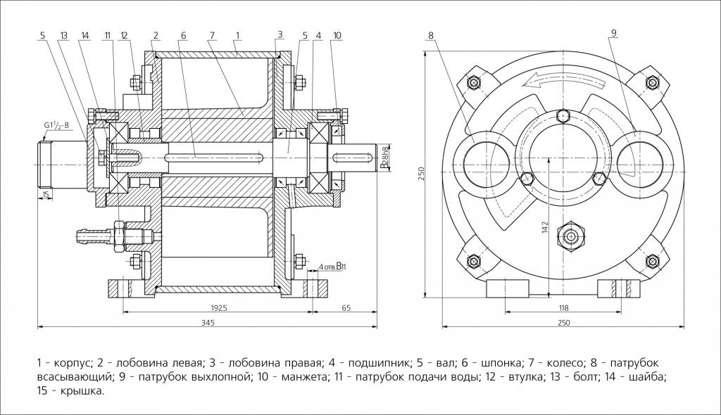 Схема водокольцевого вакуумного насоса