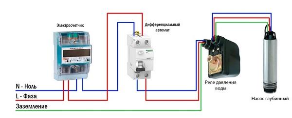 Схема подключения к глубинному насосу реле давления воды.