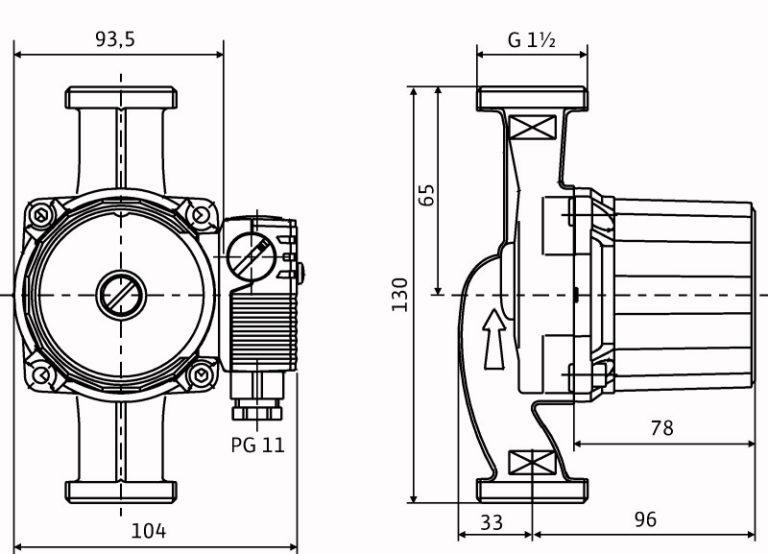 Схема и габаритные размеры Wilo star rs 25 6