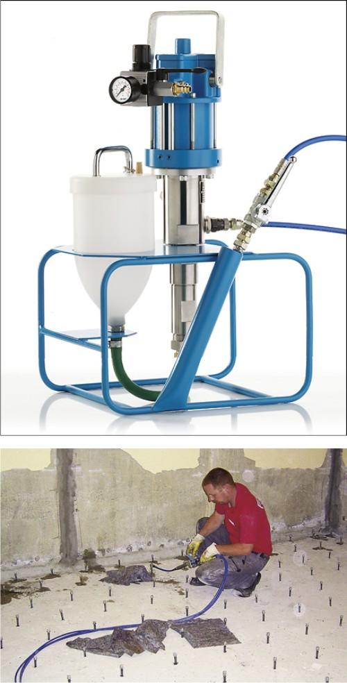 Инъекционный насос в строительных работах.