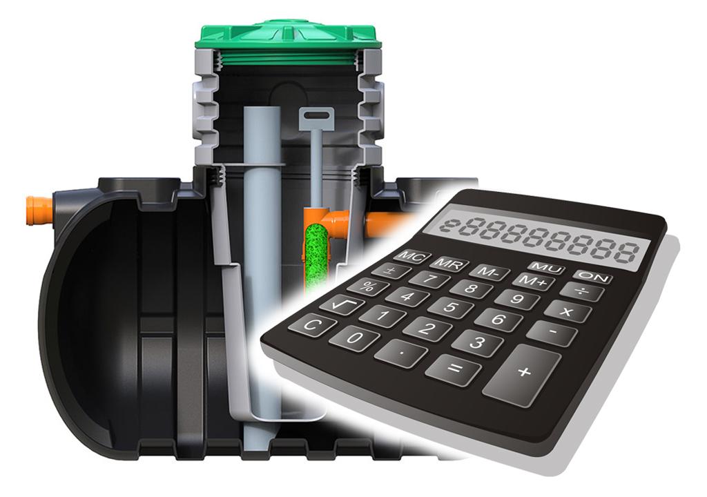 Калькулятор расчета объема септика поможет правильно рассчитать септик должен на определенный объем воды, которую он сможет перерабатывать.