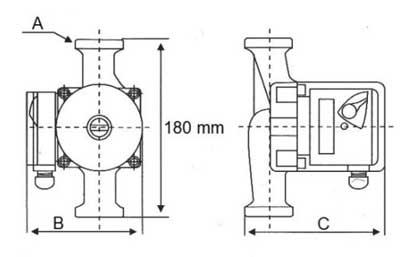 Габаритные размеры насоса LRS 25-4/180 LadAna.