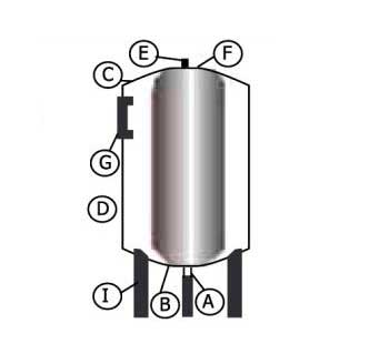 Схема вертикального гидроаккумулятора 100 л с манометром LadAna.