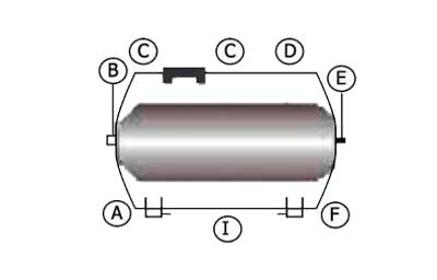 Схема горизонтального гидроаккумулятора 24 л LadAna.