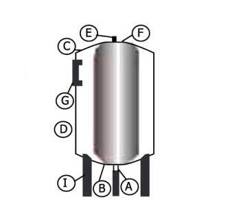 Схема вертикального гидроаккумулятора 36 л вертикальный LadAna для ГВС (фланец из стали повышенной прочности).