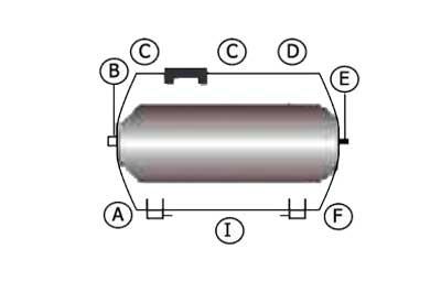Схема горизонтального гидроаккумулятора 80 л LadAna