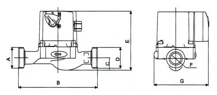 Габаритные размеры насоса LPS-25-13/180 Z LadAna.