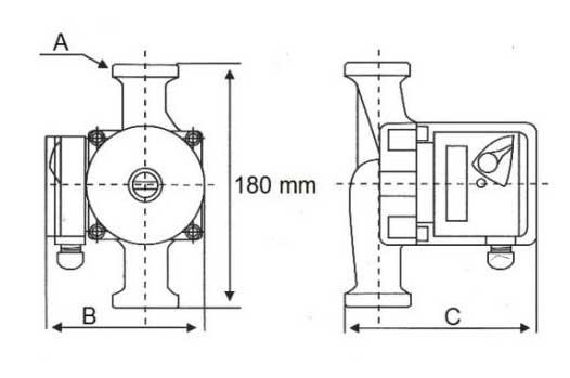 Габаритные размеры насоса LRS 32-8/180 LadAna.