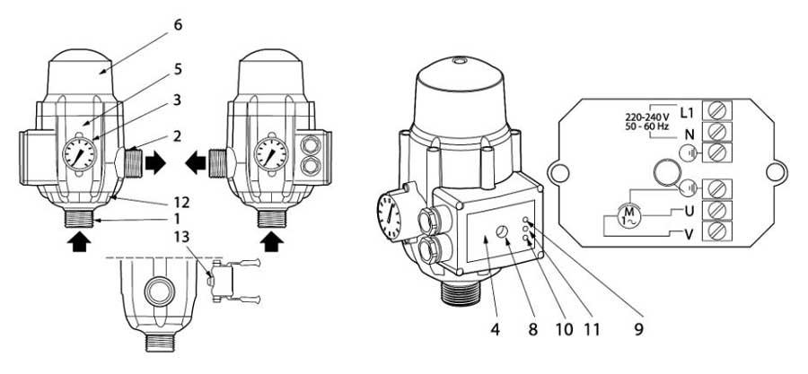 Устройство регулятора давления DSK-2.3 Ladana с розеткой.