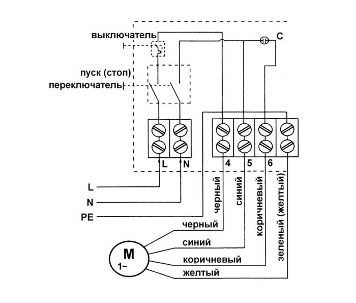 Электрическая схема пульта управления погружного насоса QK 102-0,75 Ladana.
