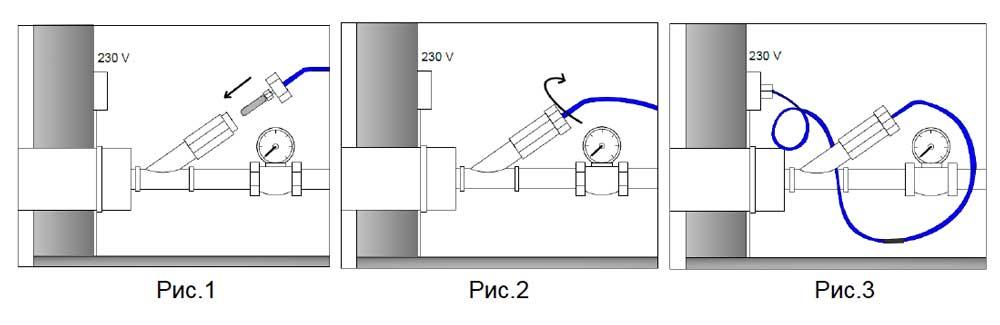 Укладка греющего кабеля внутри трубы.
