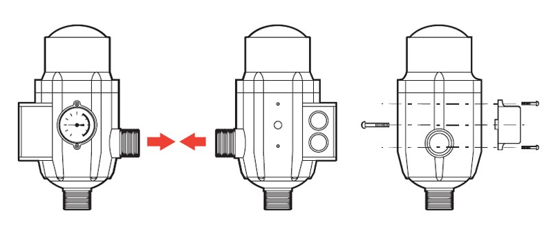 Установка манометра на блоке автоматики Джилекс.