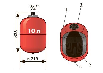 Расширительный бак 10 л вертикальный Джилекс (присоединение 3/4 дюйма).