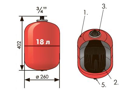 Расширительный бак 18 л вертикальный Джилекс (присоединение 3/4 дюйма).