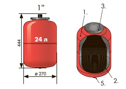 """Расширительный бак 24 л вертикальный Джилекс (присоединение 1"""" дюйм)"""