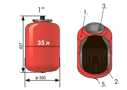 """Расширительный бак 35 л вертикальный Джилекс (присоединение 1"""" дюйм)."""