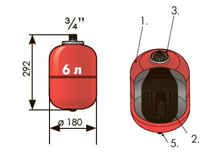 Расширительный бак 6 л вертикальный Джилекс (присоединение 3/4 дюйма).