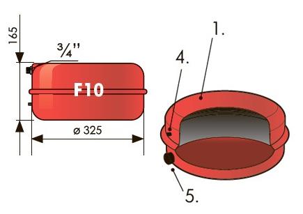"""Расширительный бак плоский 10 л Джилекс (3 атм., штуцер 3/4"""")."""