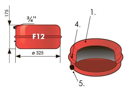 """Расширительный бак плоский 12 л Джилекс (3 атм., штуцер 3/4"""")."""