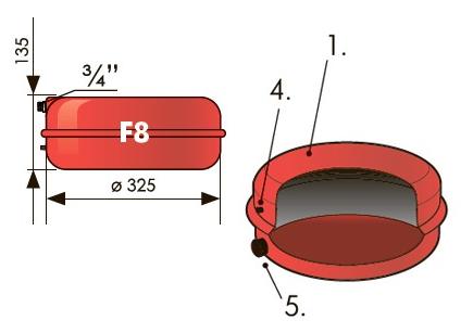 """Расширительный бак плоский 8 л Джилекс (3 атм., штуцер 3/4"""")."""