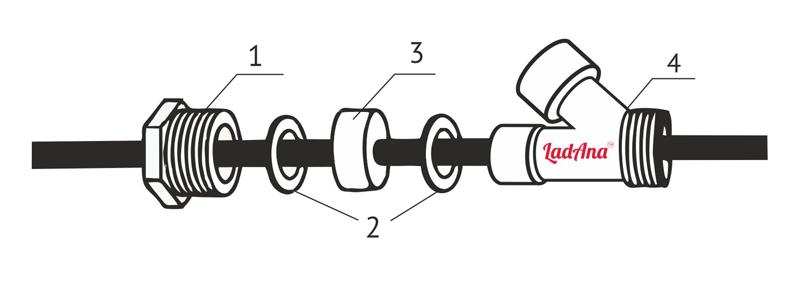 Тройник с сальником (комплект для монтажа греющего кабеля внутрь трубы).