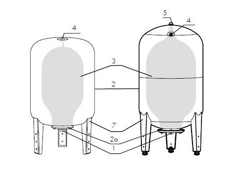 Устройство вертикального гидроаккумулятора Джилекс.